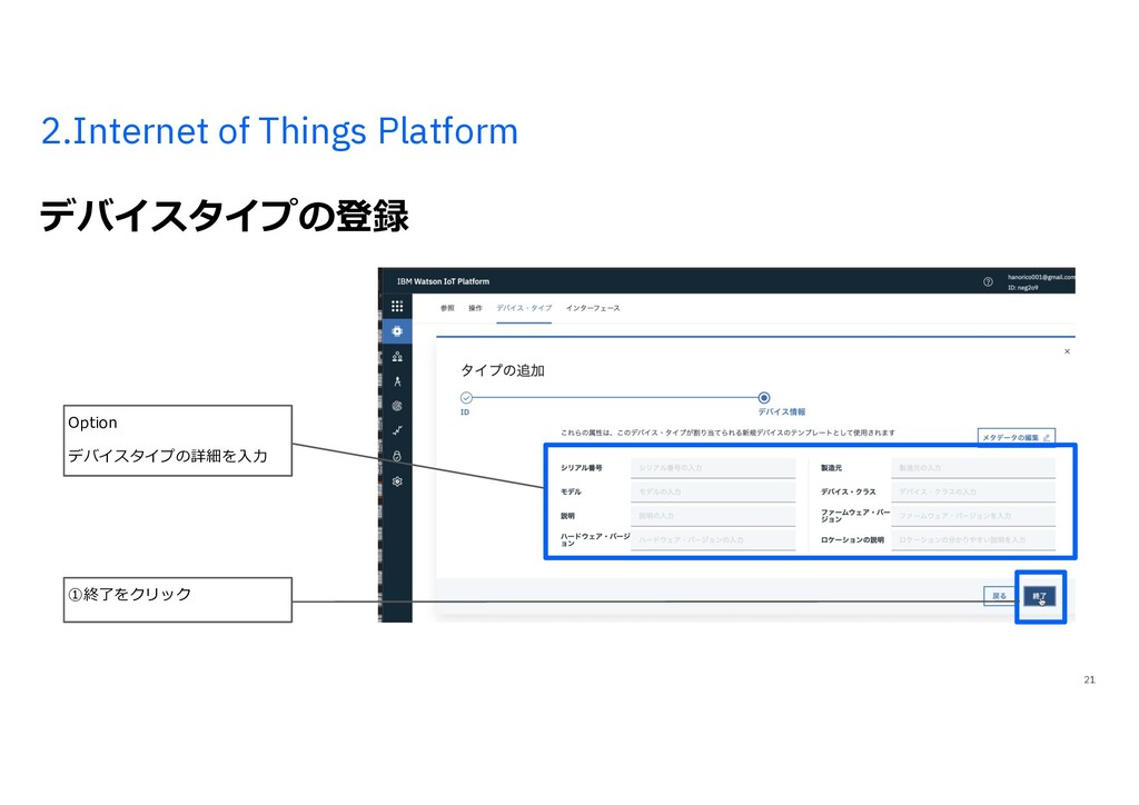 2.Internet of Things Platform デバイスタイプの登録 21 ①終了...