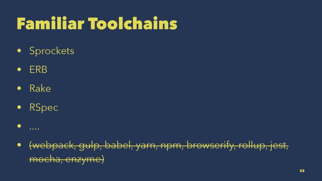 Familiar Toolchains • Sprockets • ERB • Rake • ...