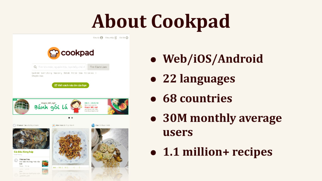 About Cookpad • Web/iOS/Android • 22 languages ...