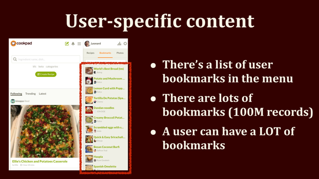 User-specieic content • There's a list of user ...