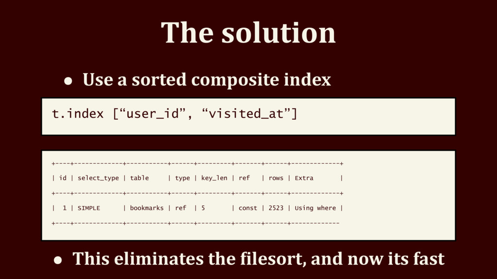 The solution • Use a sorted composite index t.i...