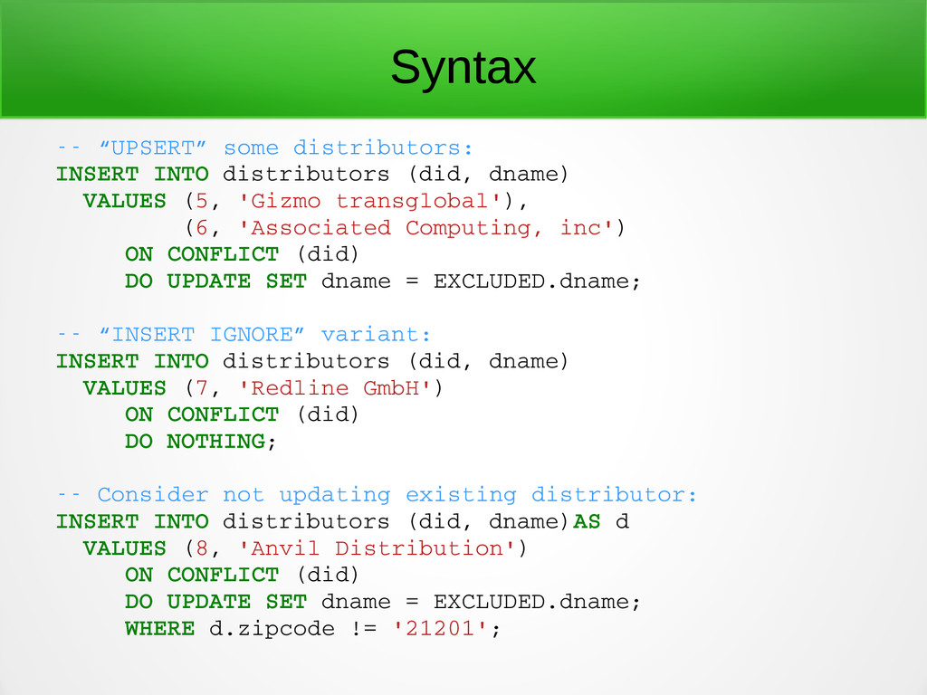 "Syntax  ""UPSERT"" some distributors: INSERT IN..."