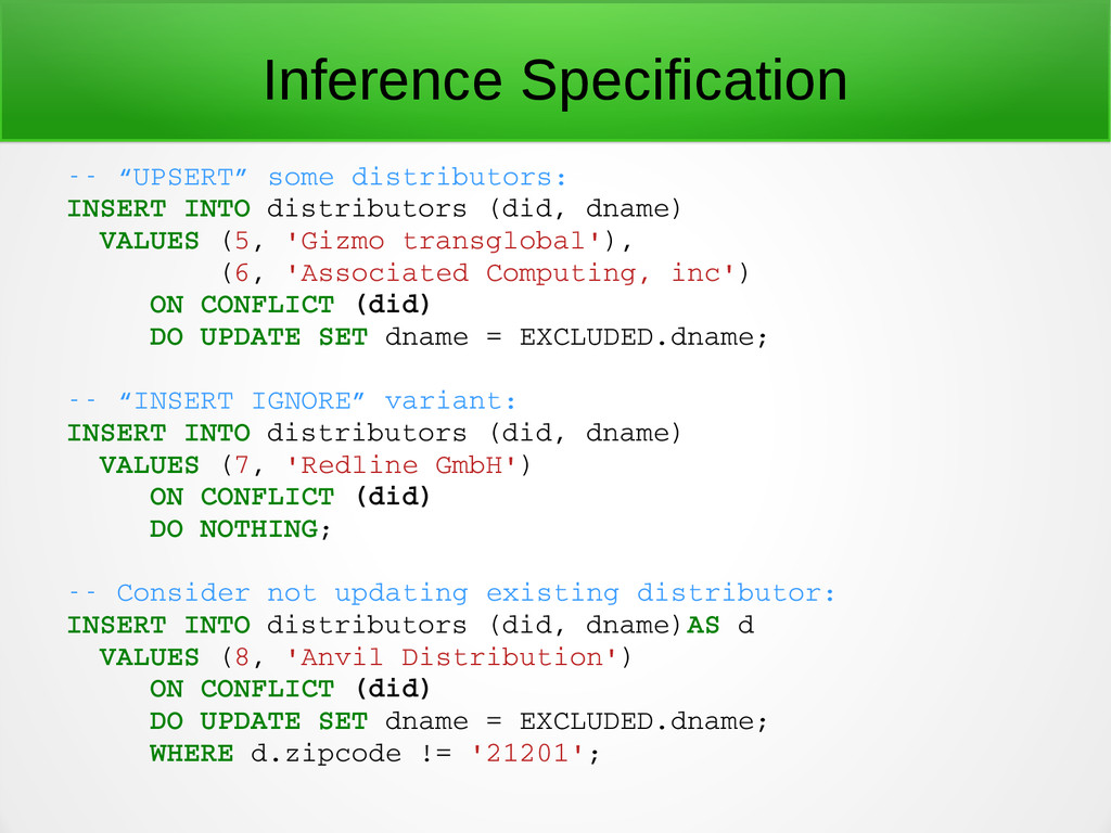 """Inference Specification  """"UPSERT"""" some distri..."""