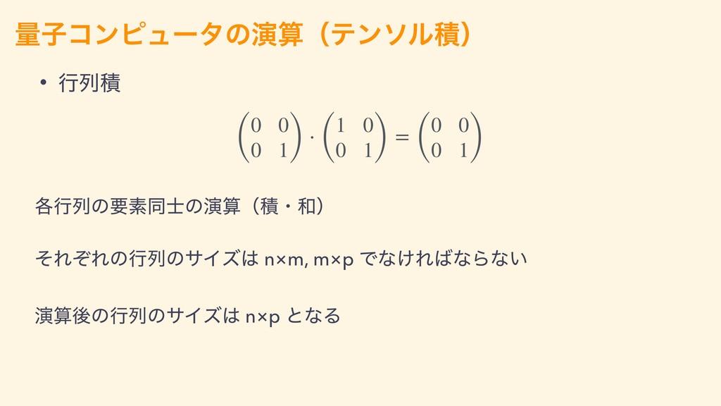 ྔࢠίϯϐϡʔλͷԋʢςϯιϧੵʣ • ߦྻੵ ( 0 0 0 1) ⋅ ( 1 0 0 1...