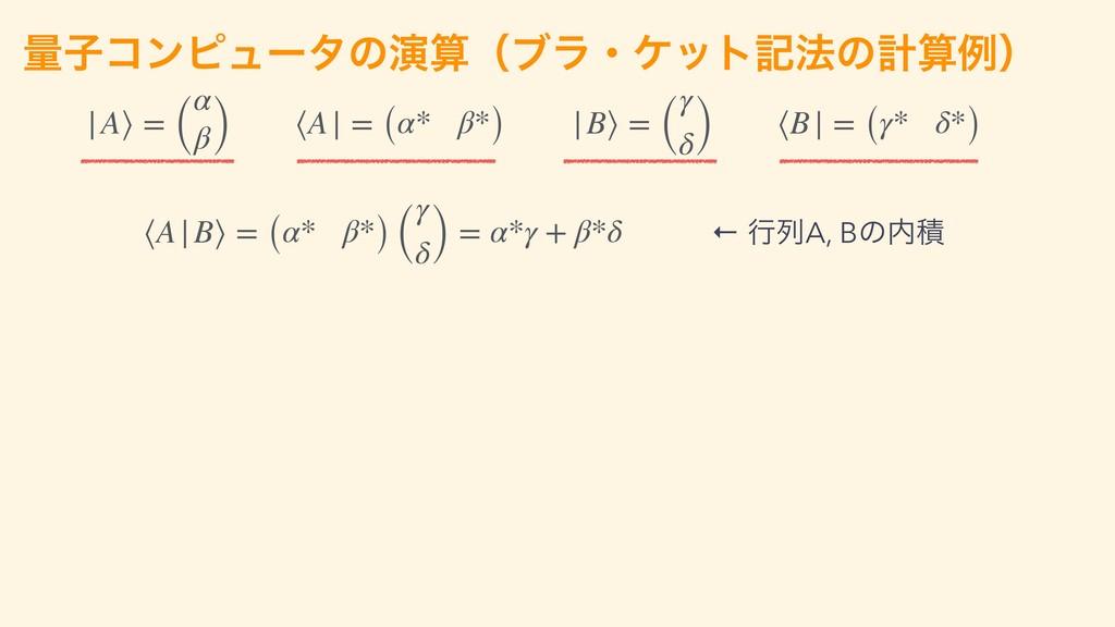 ྔࢠίϯϐϡʔλͷԋʢϒϥɾέοτه๏ͷܭྫʣ ⟨A|B⟩ = (α* β*) ( γ δ...
