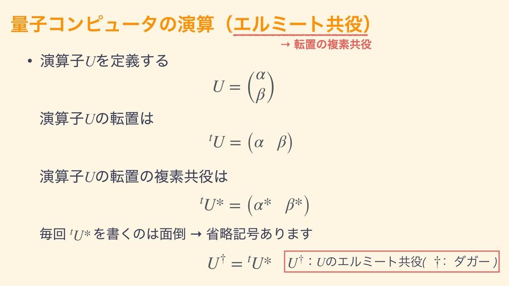 • ԋࢠUΛఆٛ͢Δ ྔࢠίϯϐϡʔλͷԋʢΤϧϛʔτڞʣ → సஔͷෳૉڞ U = ...