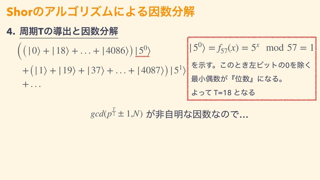 ShorͷΞϧΰϦζϜʹΑΔҼղ ((|0⟩ + |18⟩ + . . . + |4086...