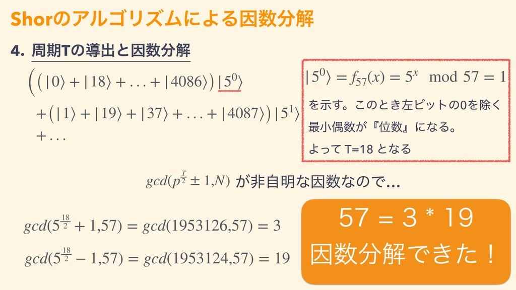 4. पظTͷಋग़ͱҼղ ShorͷΞϧΰϦζϜʹΑΔҼղ ((|0⟩ + |18⟩ ...