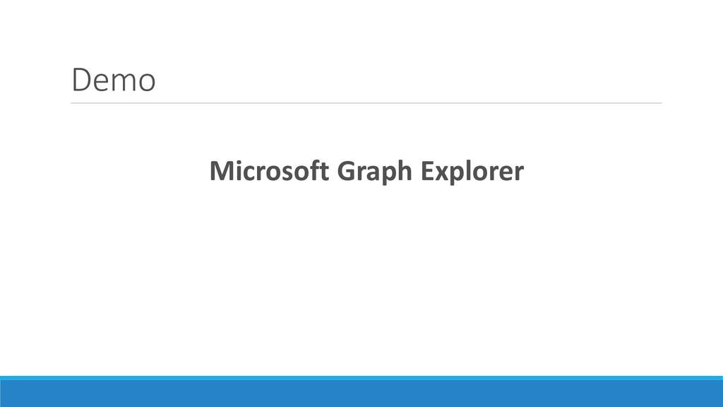 Demo Microsoft Graph Explorer