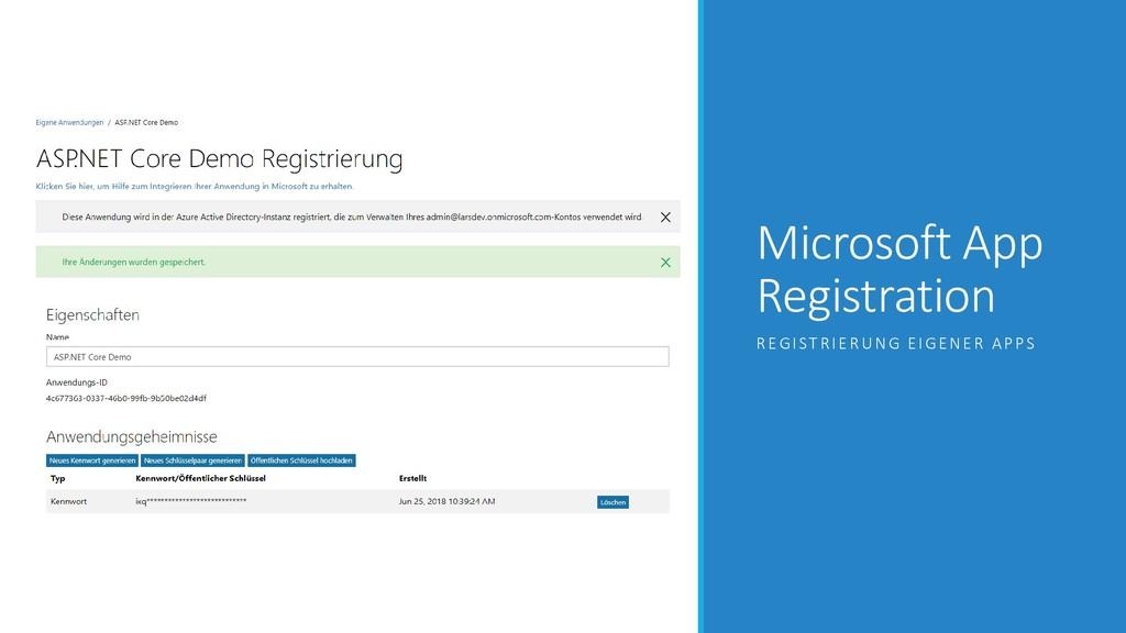 Microsoft App Registration REGISTRIERUNG EIGENE...