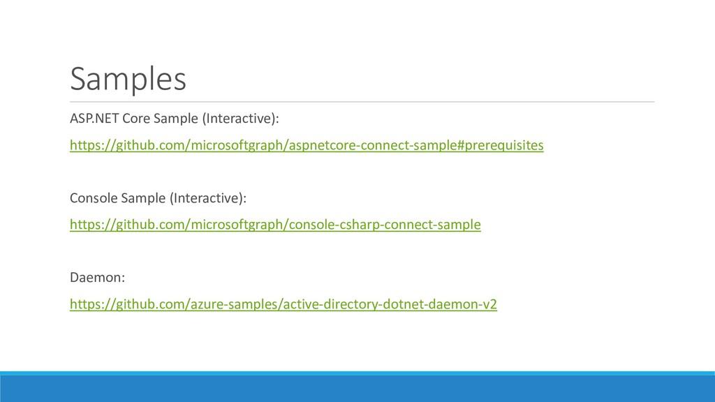 Samples ASP.NET Core Sample (Interactive): http...