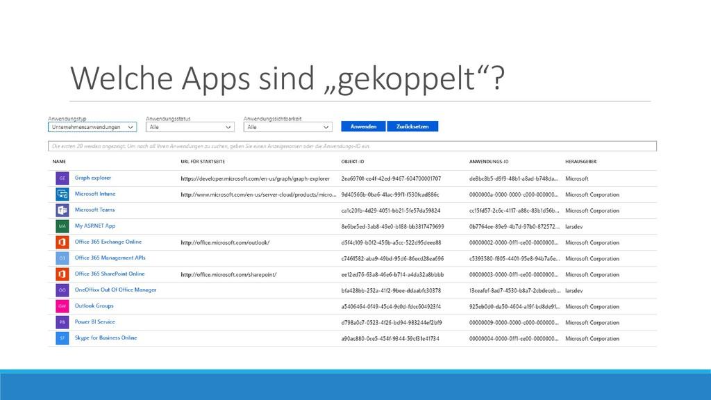 """Welche Apps sind """"gekoppelt""""?"""