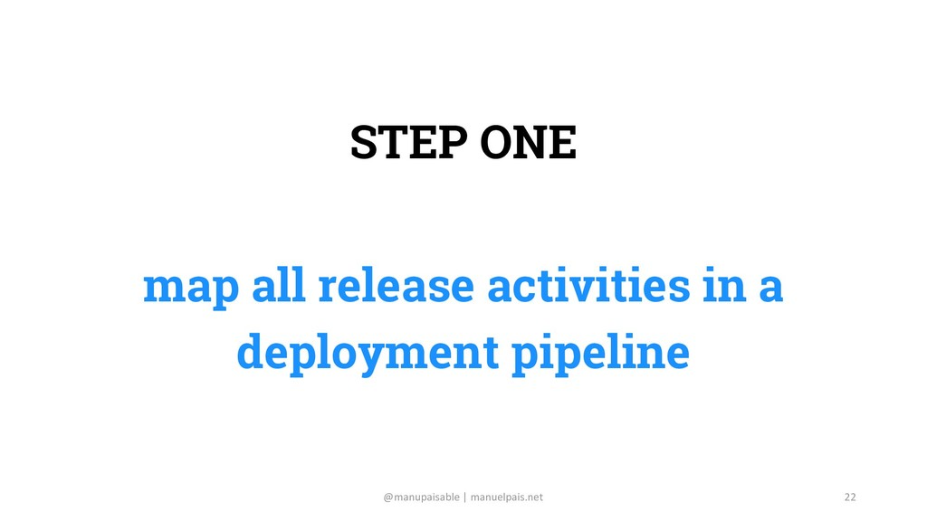 STEP ONE map all release activities in a deploy...
