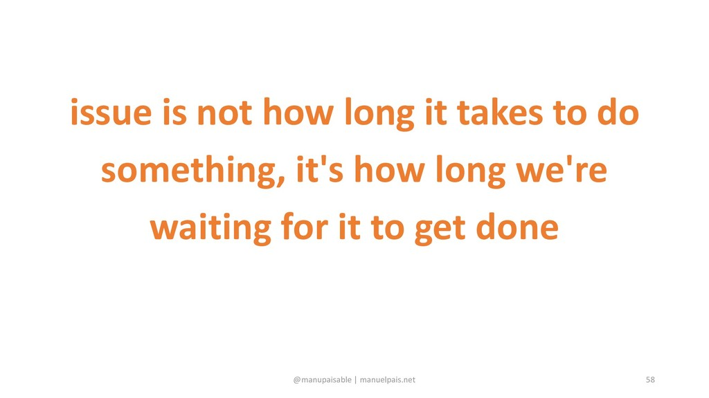 issue is not how long it takes to do something,...