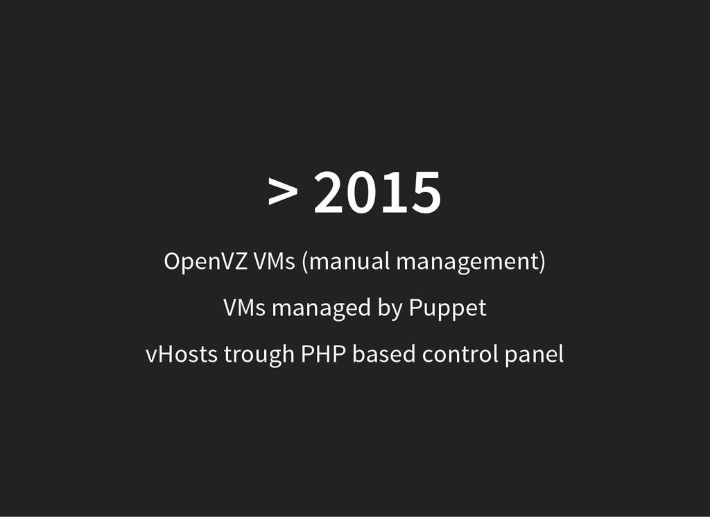 > 2015 OpenVZ VMs (manual management) VMs manag...