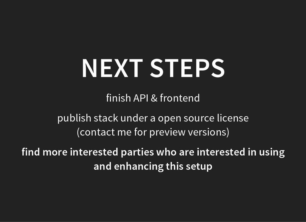 NEXT STEPS finish API & frontend publish stack ...