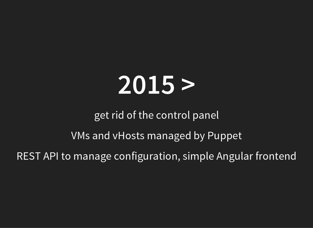 2015 > get rid of the control panel VMs and vHo...