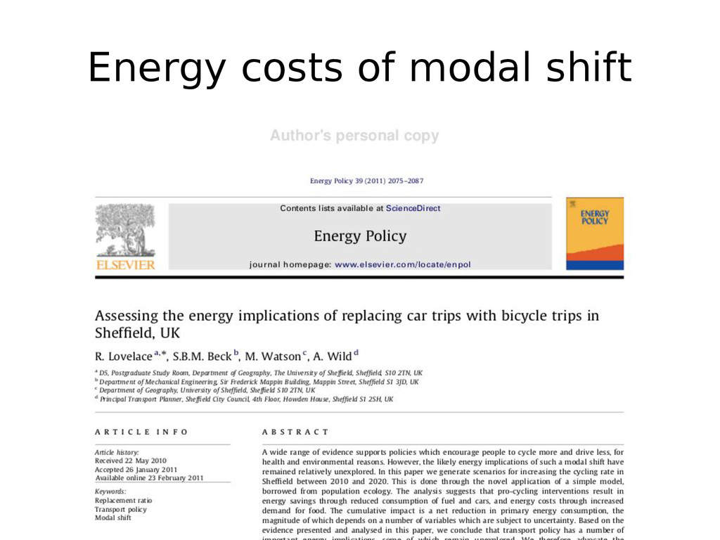 Energy costs of modal shift