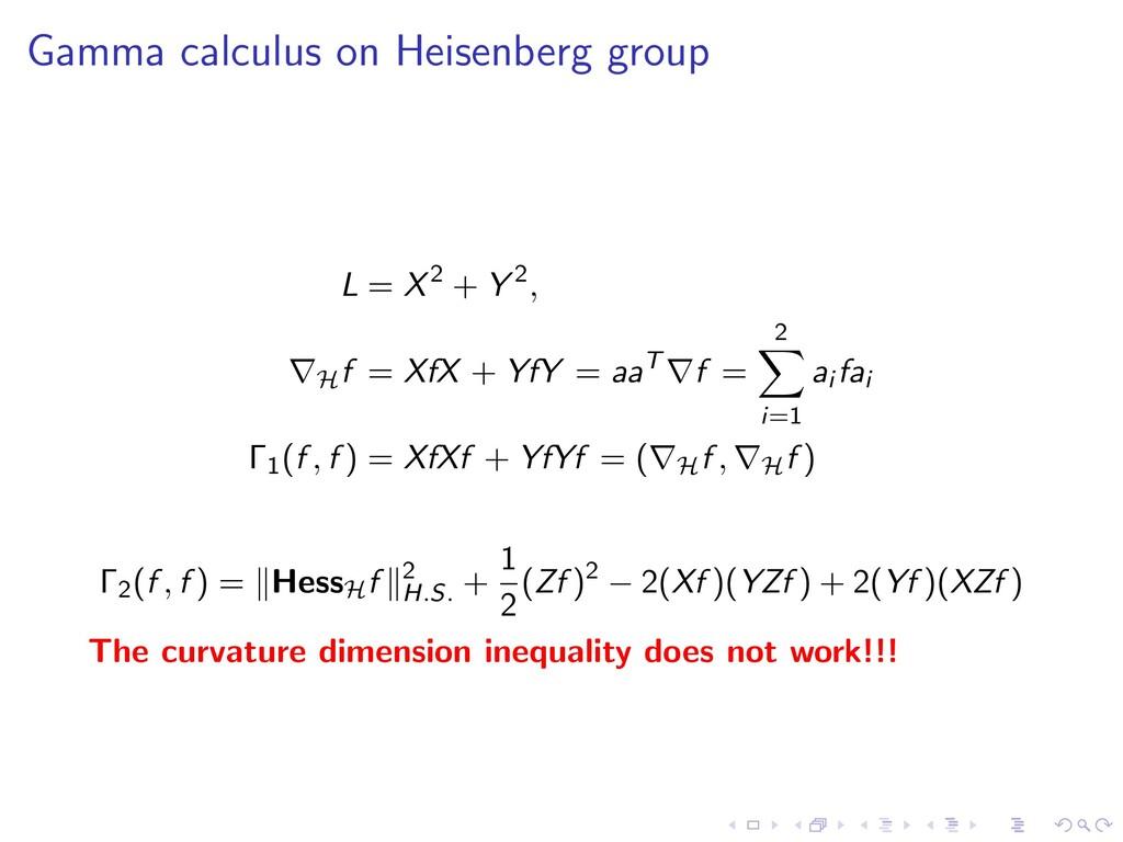 Gamma calculus on Heisenberg group L = X2 + Y 2...
