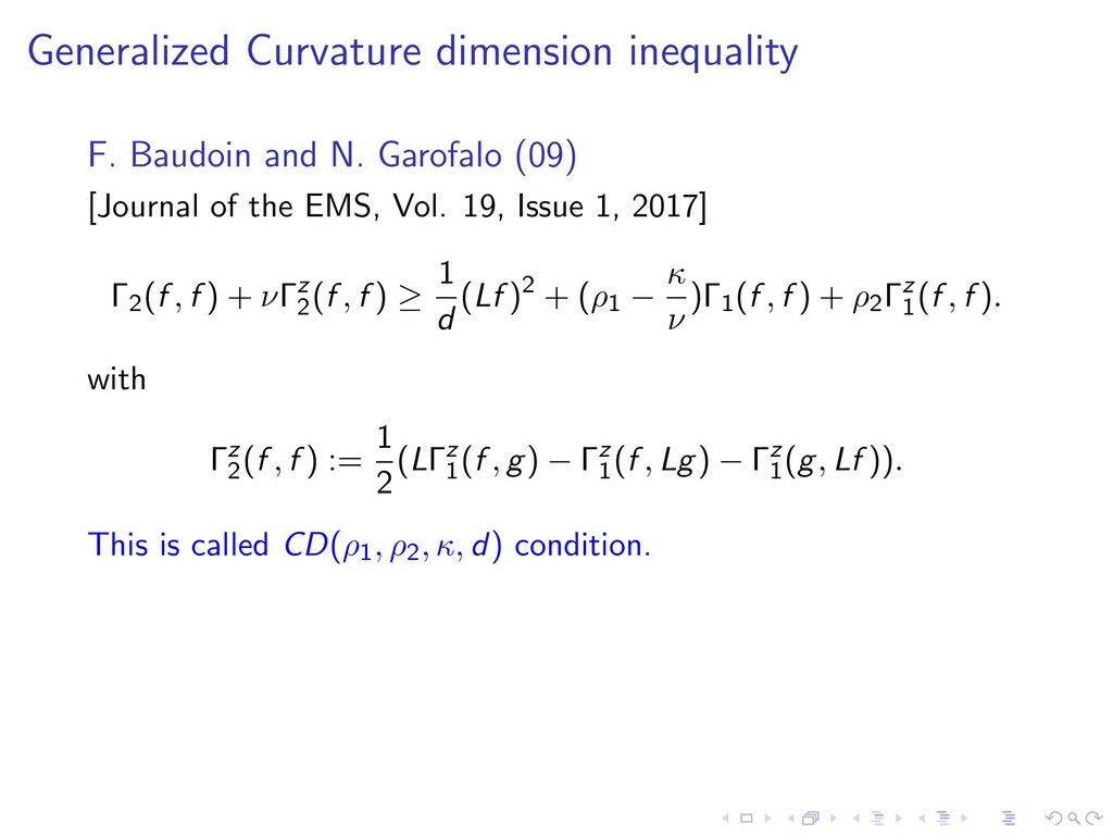 Generalized Curvature dimension inequality F. B...