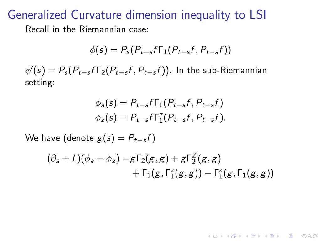 Generalized Curvature dimension inequality to L...