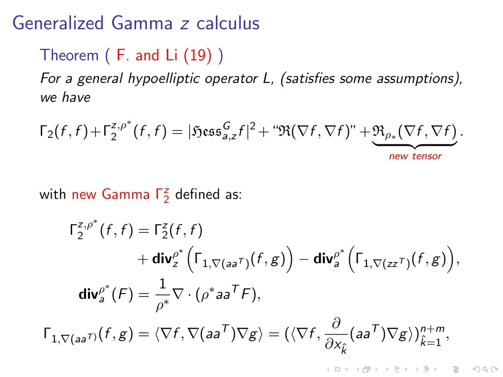 Generalized Gamma z calculus Theorem ( F. and L...
