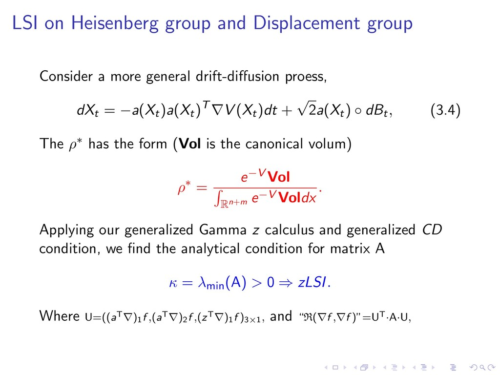 LSI on Heisenberg group and Displacement group ...