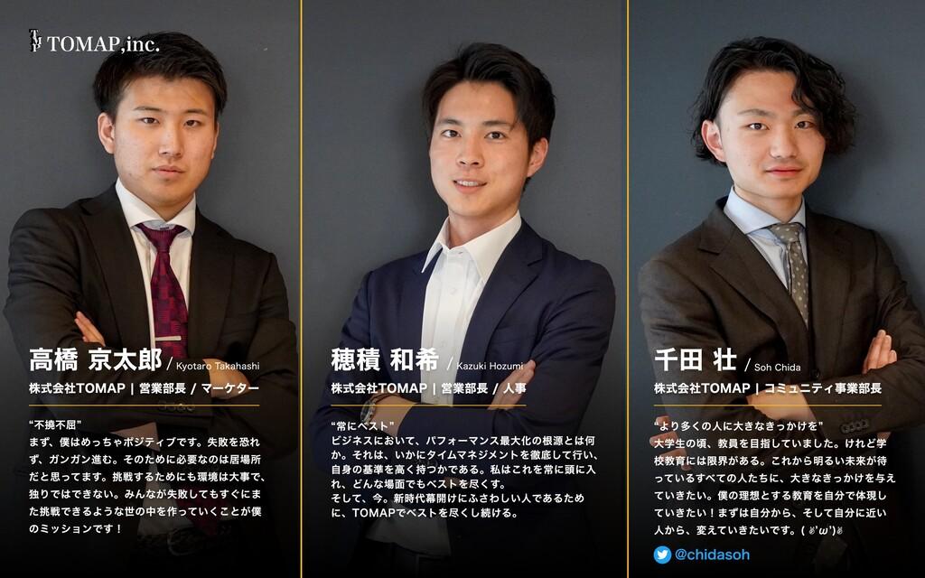Soh Chida / 千⽥ 壮 株式会社TOMAP | コミュニティ事業部⻑ Kazuki ...