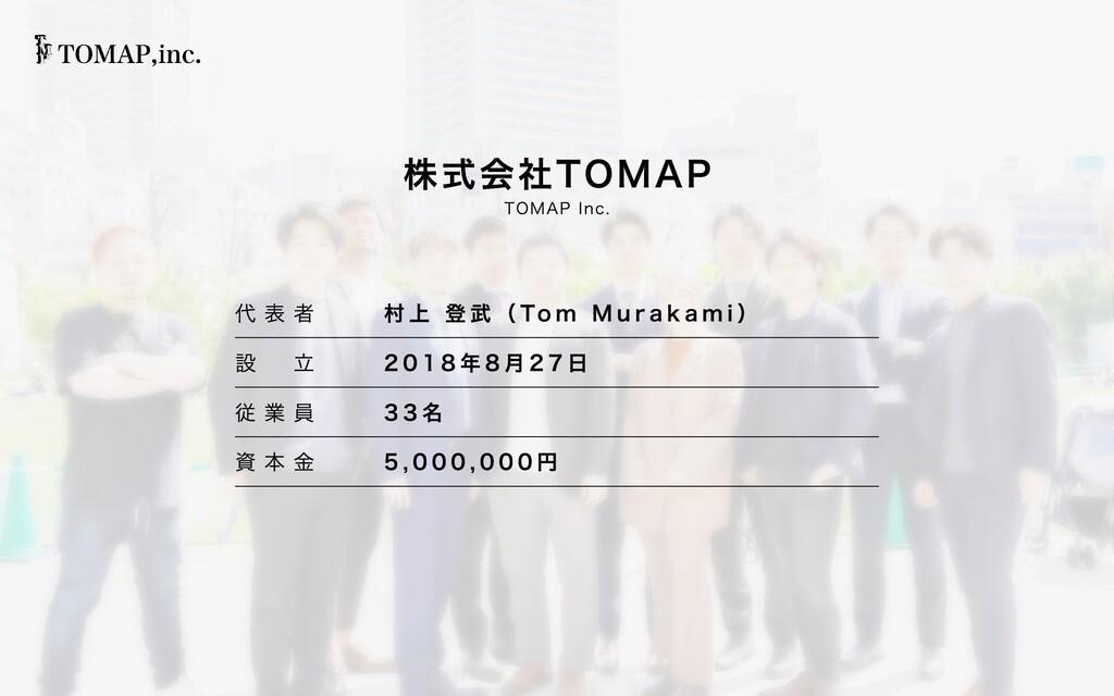 代 表 者 村上 登武(Tom Murakami) 設  ⽴ 2018年8⽉27⽇ 従 業 ...