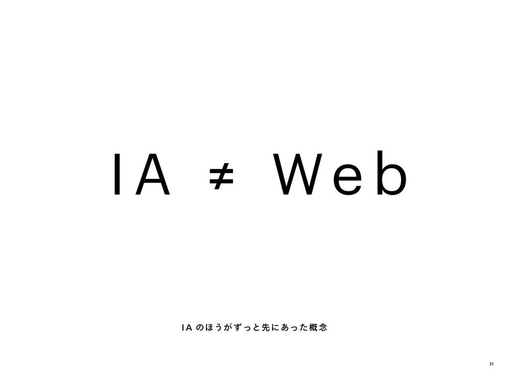IA ≠ We b IA のほうが ずっと先にあった概 念 21