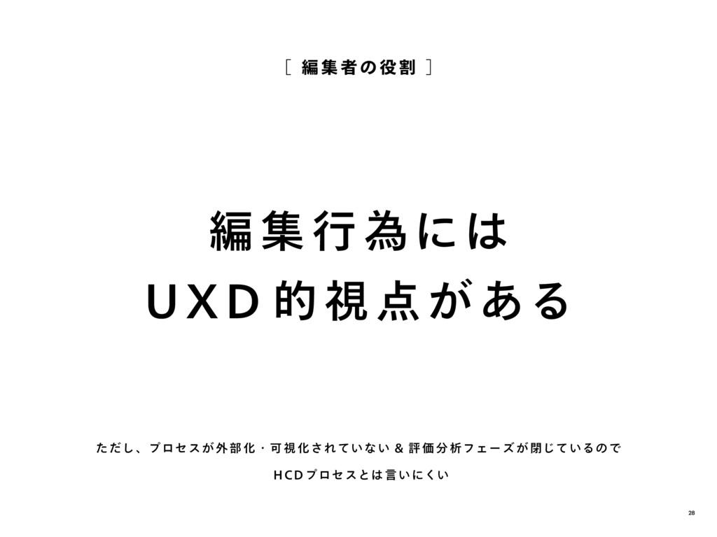 編 集 行 為には UXD 的視 点 が ある [ 編 集 者 の 役 割 ] ただし、プロセ...