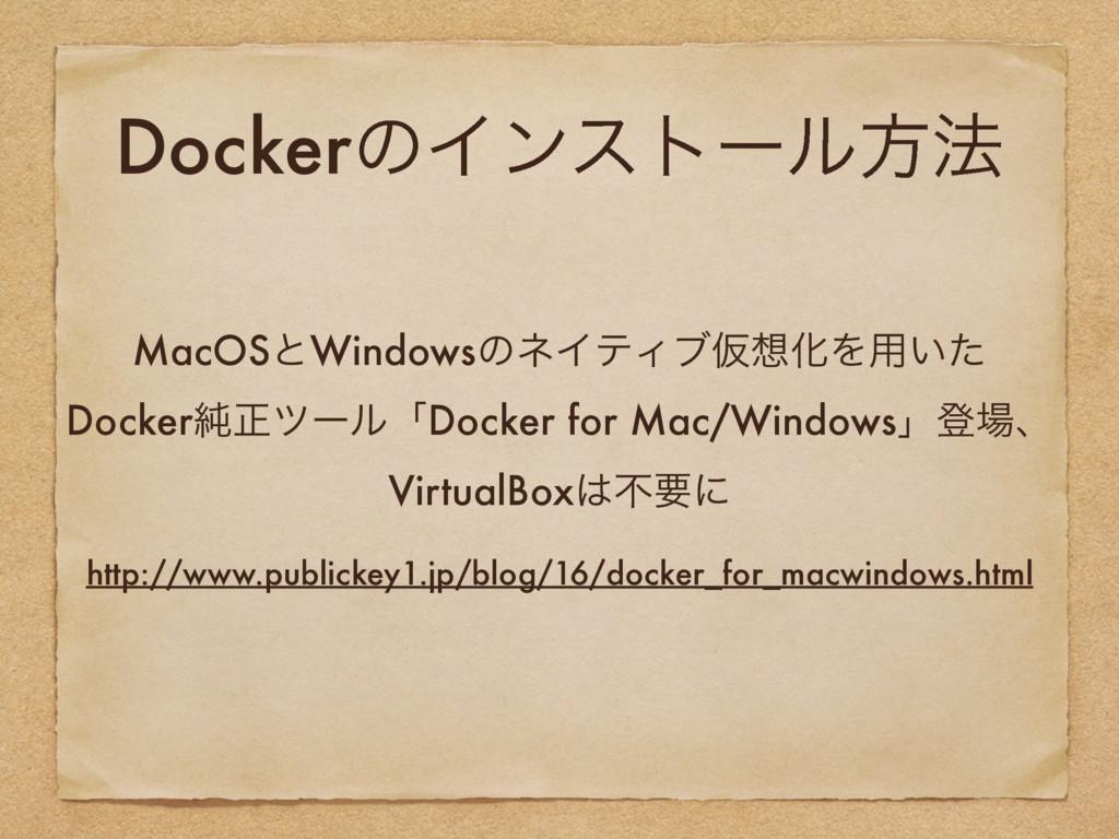 DockerͷΠϯετʔϧํ๏ MacOSͱWindowsͷωΠςΟϒԾԽΛ༻͍ͨ Dock...