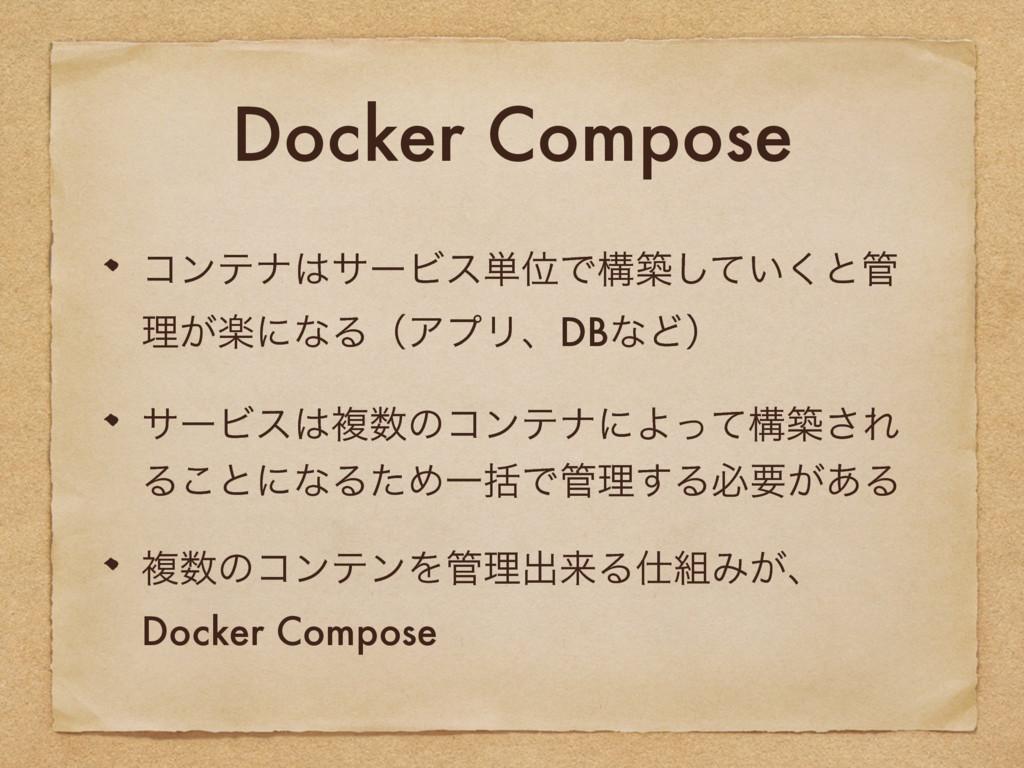 Docker Compose ίϯςφαʔϏε୯ҐͰߏங͍ͯ͘͠ͱ ཧָ͕ʹͳΔʢΞϓϦɺ...