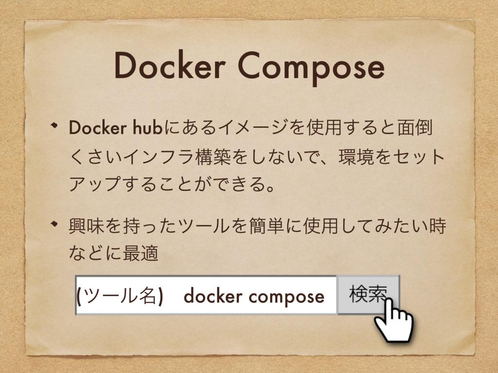 Docker Compose Docker hubʹ͋ΔΠϝʔδΛ༻͢Δͱ໘ ͍͘͞Πϯϑ...