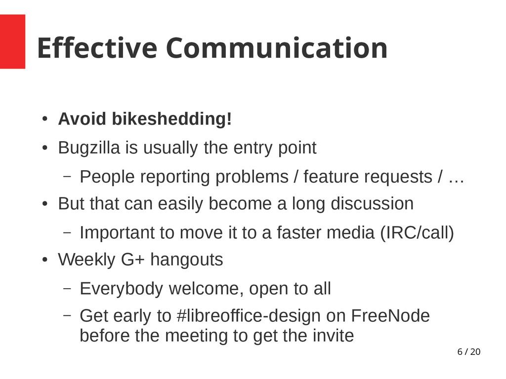 6 / 20 Effective Communication ● Avoid bikeshed...