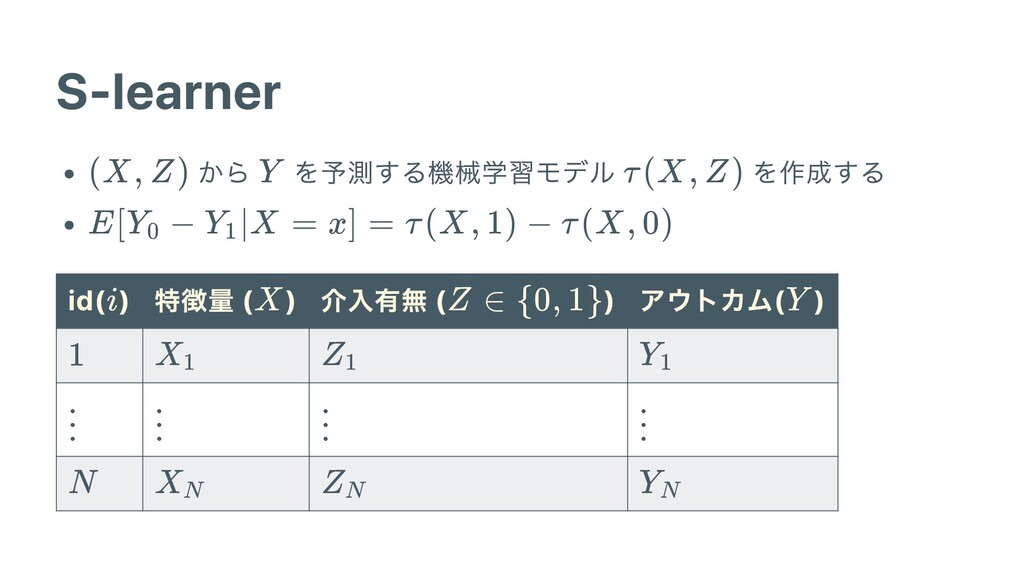 S-learner から を予測する機械学習モデル を作成する id( ) 特徴量 ( ) 介...