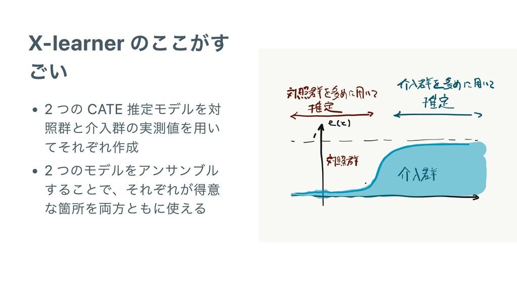 X-learner のここがす ごい 2 つの CATE 推定モデルを対 照群と介⼊群の実測値...