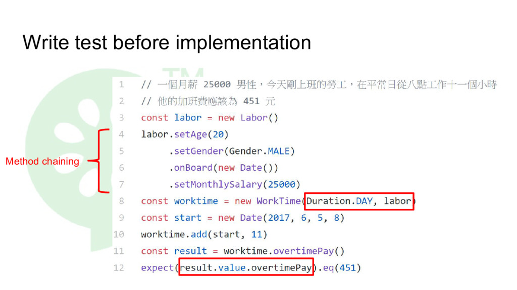 Write test before implementation Method chaining