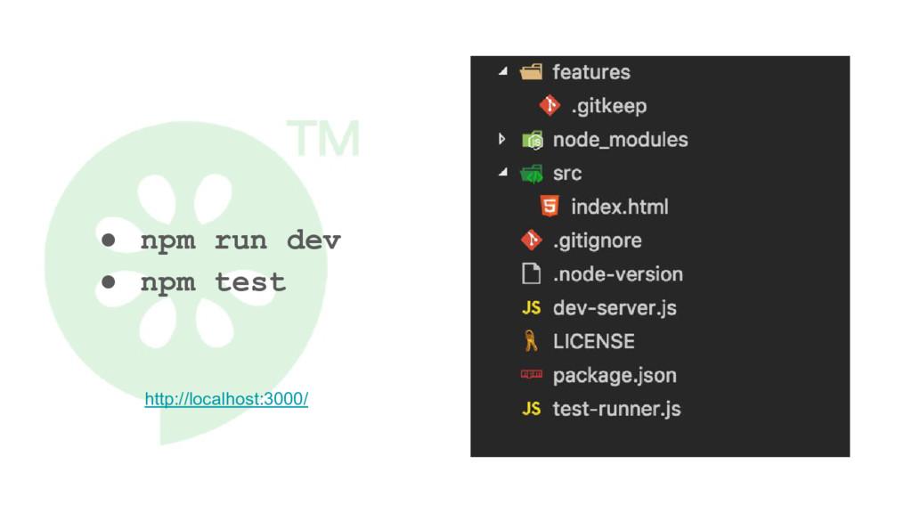 ● npm run dev ● npm test http://localhost:3000/