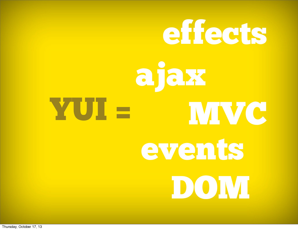 YUI = effects DOM ajax events ... MVC Thursday,...