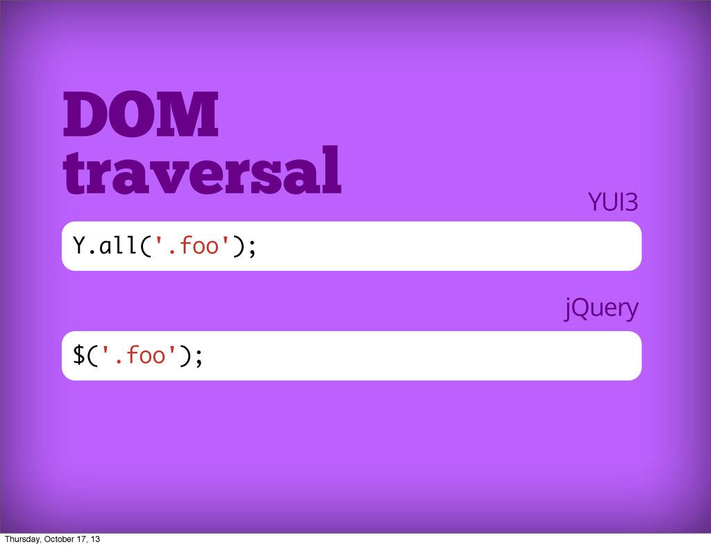 $('.foo'); DOM traversal Y.all('.foo'); YUI3 jQ...