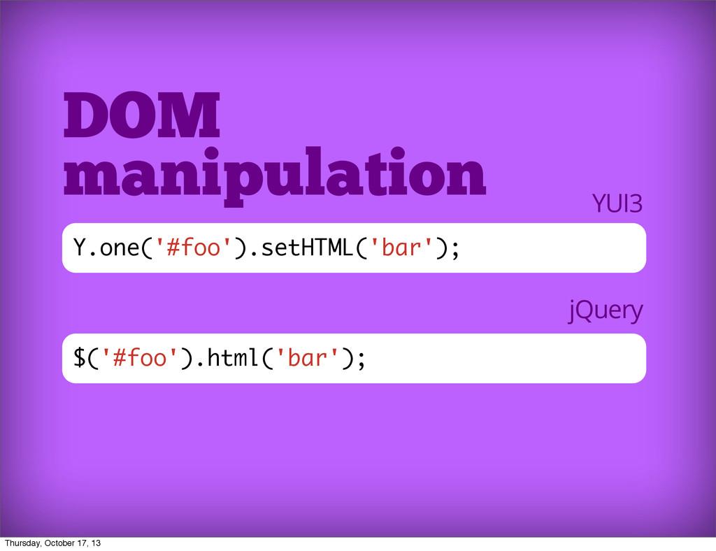 $('#foo').html('bar'); DOM manipulation Y.one('...