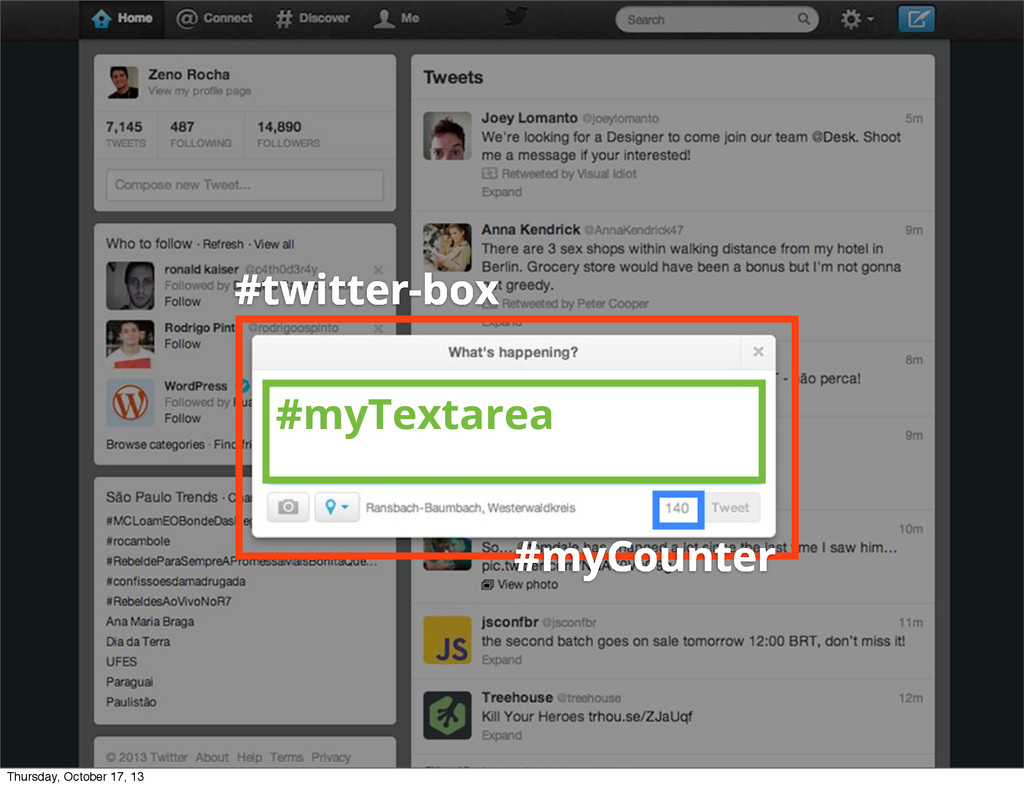 #twitter-box #myTextarea #myCounter Thursday, O...