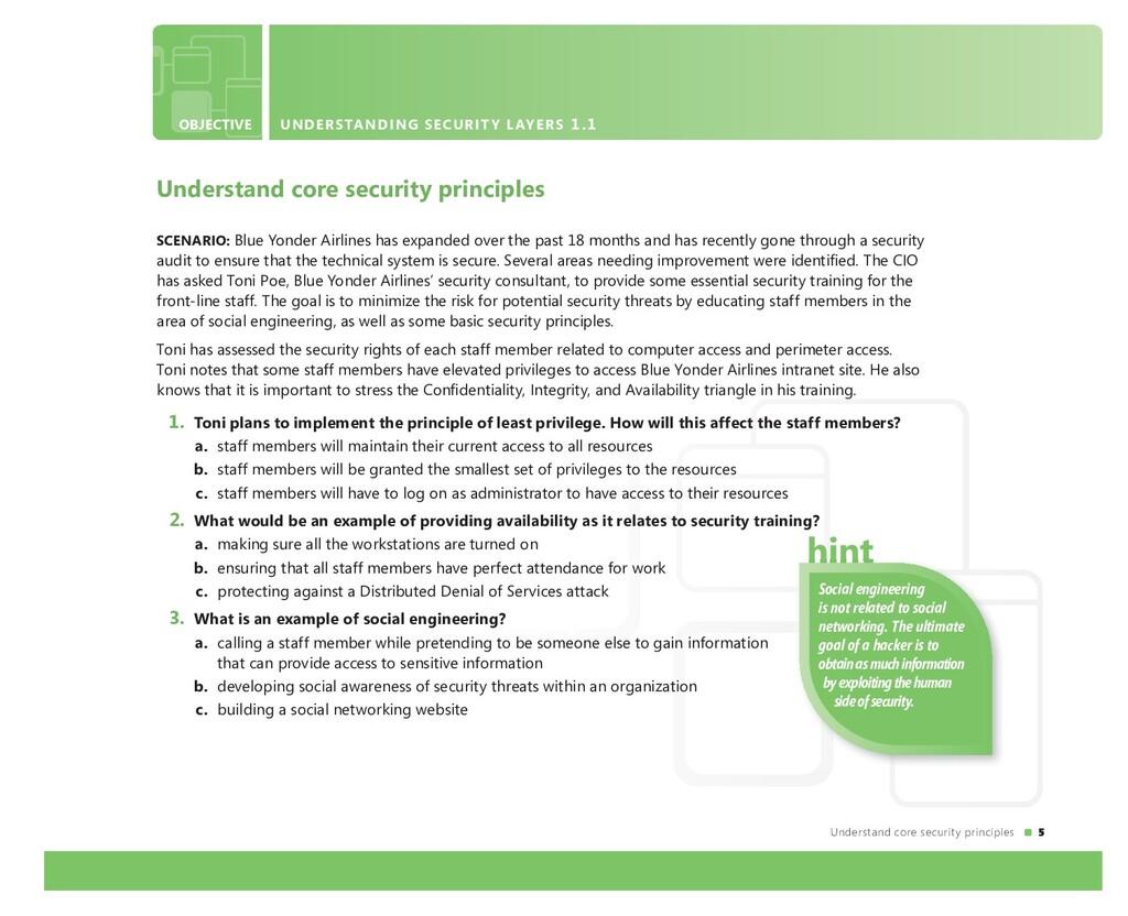 5 Understand core security principles SCENARIO:...