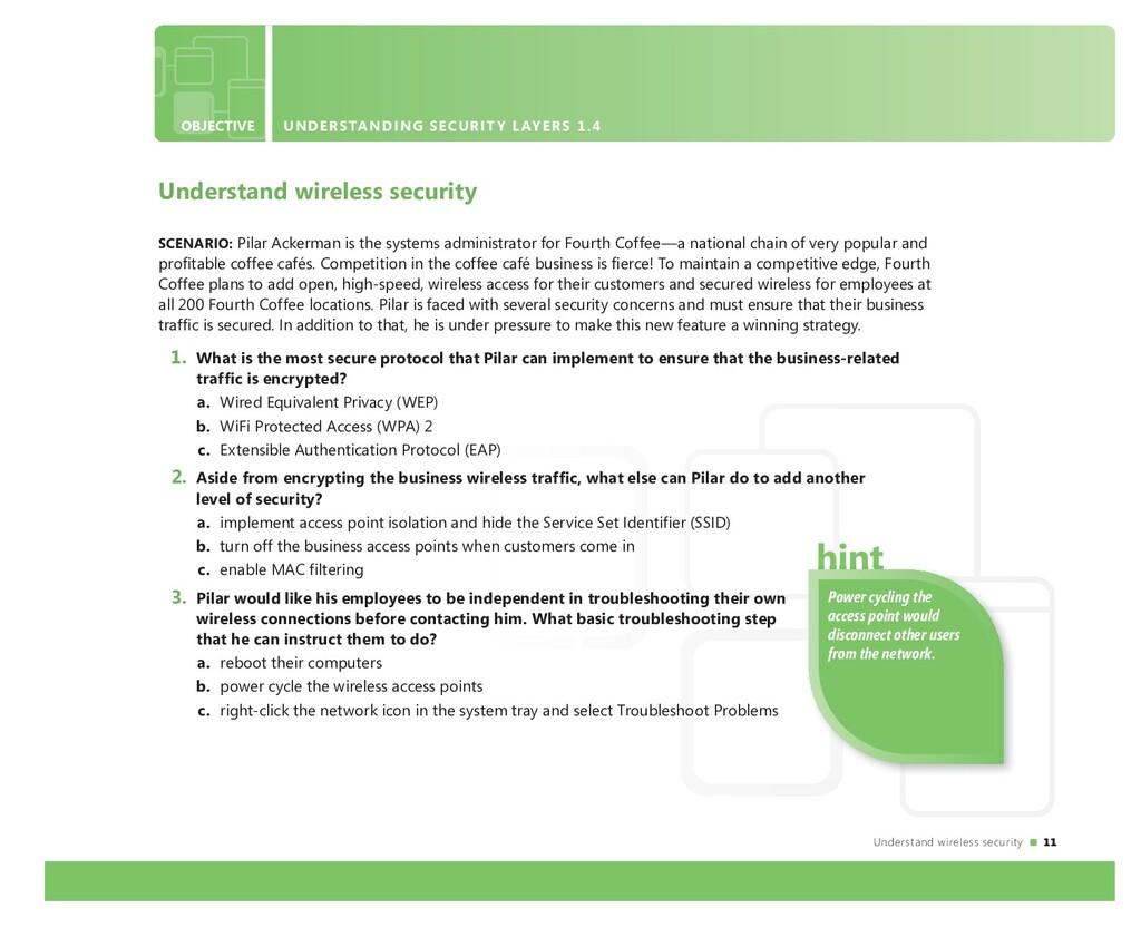 Understand wireless security 11 OBJECTIVE UNDER...