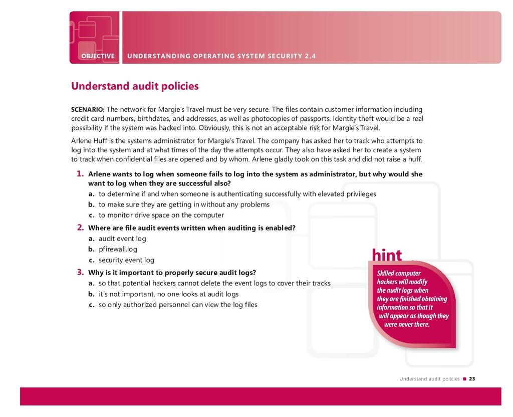 Understand audit policies 23 OBJECTIVE UNDERSTA...