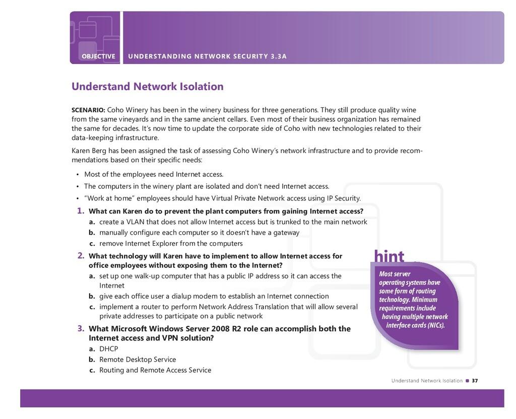 Understand Network Isolation 37 OBJECTIVE UNDER...