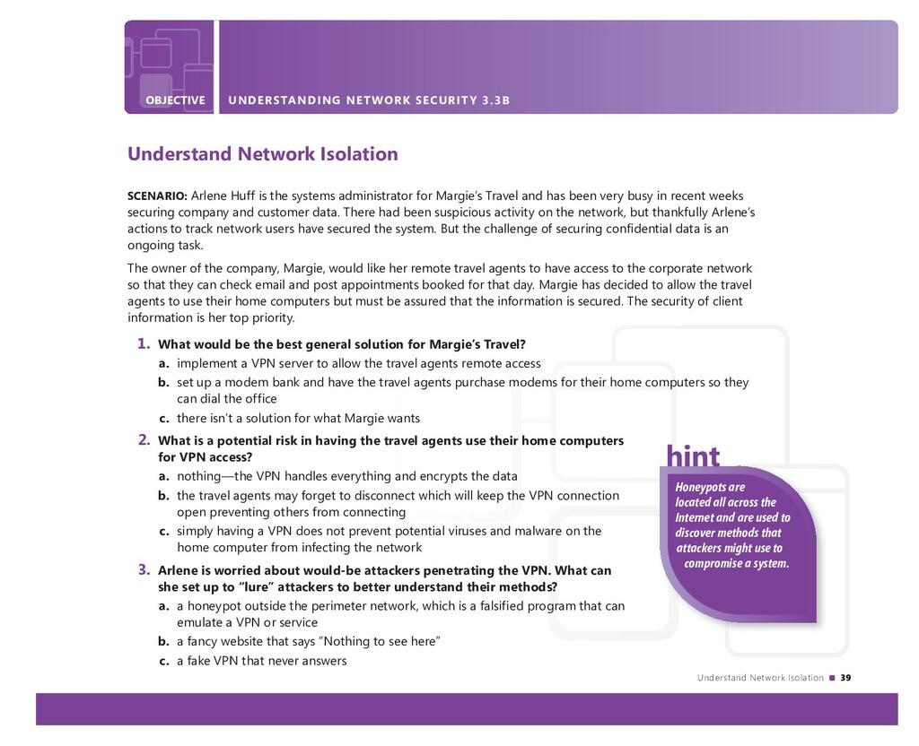 Understand Network Isolation 39 OBJECTIVE UNDER...