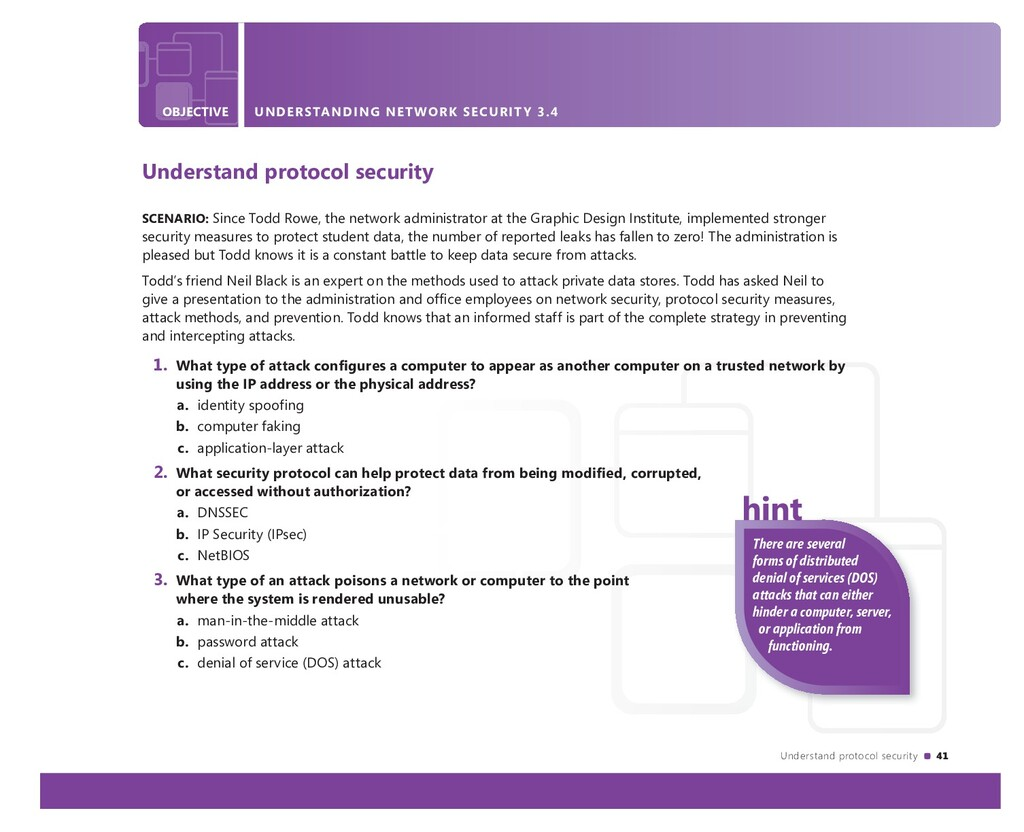Understand protocol security 41 OBJECTIVE UNDER...