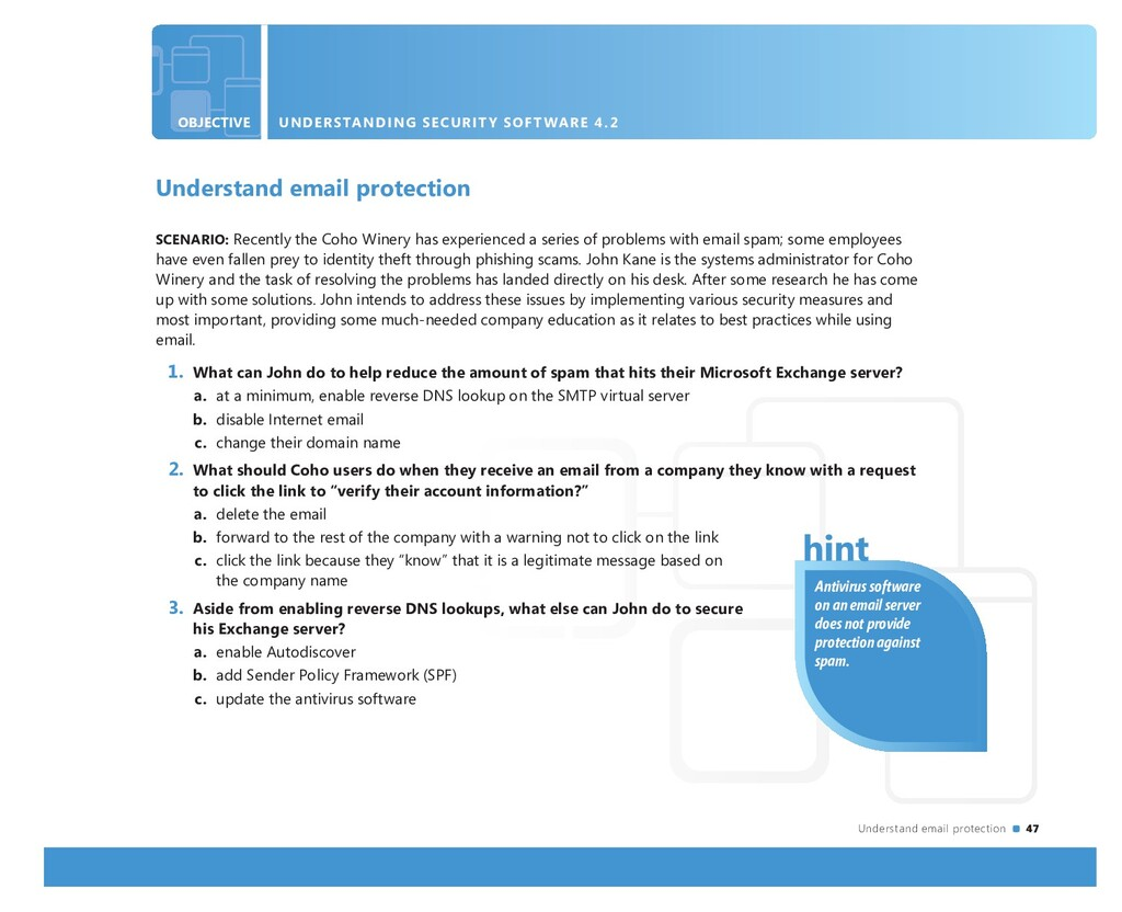 Understand email protection 47 OBJECTIVE UNDERS...